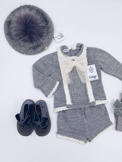 Rahigo Grey/Cream Shorts 2 piece set with bow details