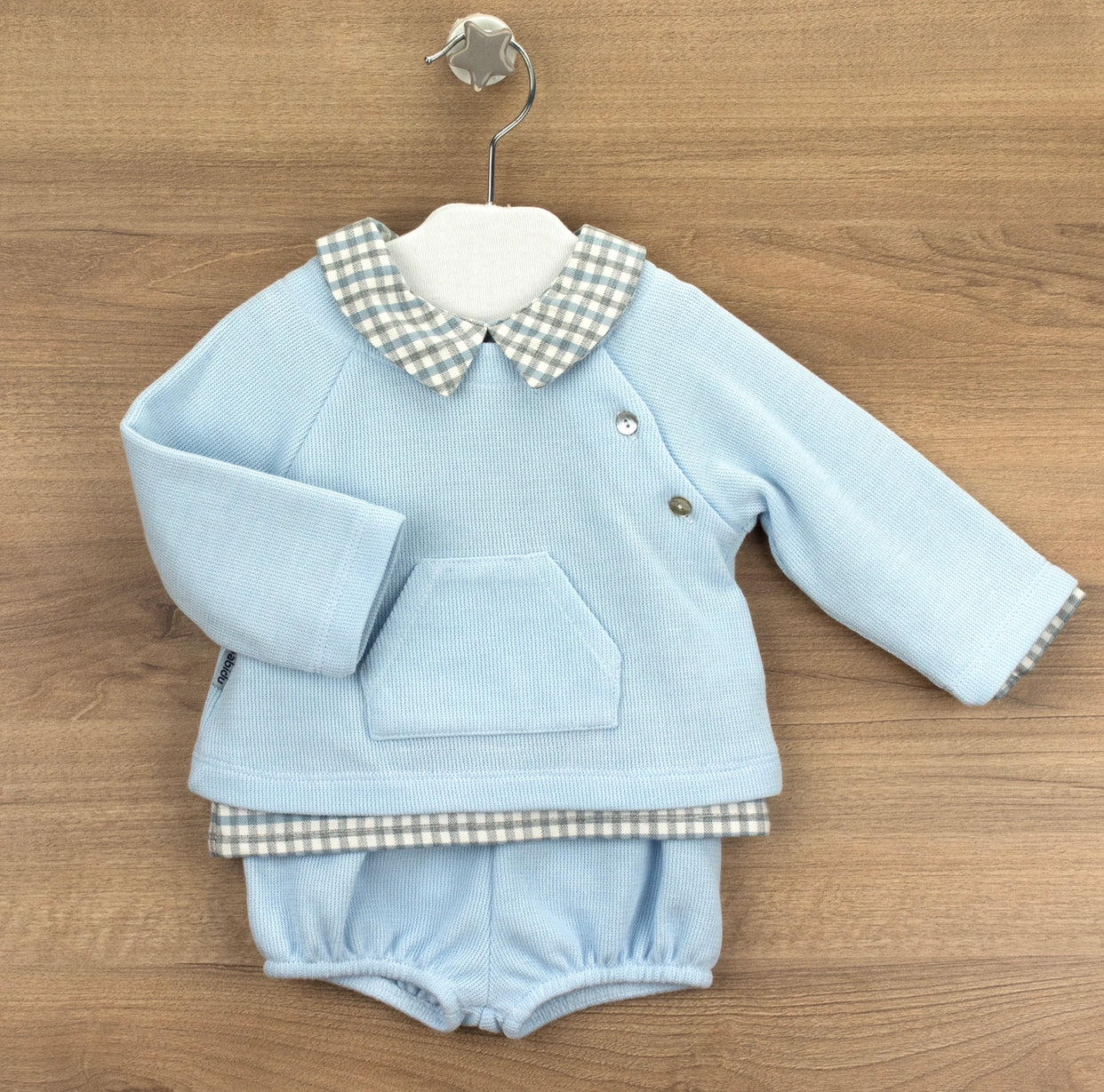 Beautiful Baby blue Unisex cotton shorts 3 piece set