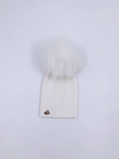 MI LOVES SIGNATURE Angora kids hat with Synthetic FUR pompom