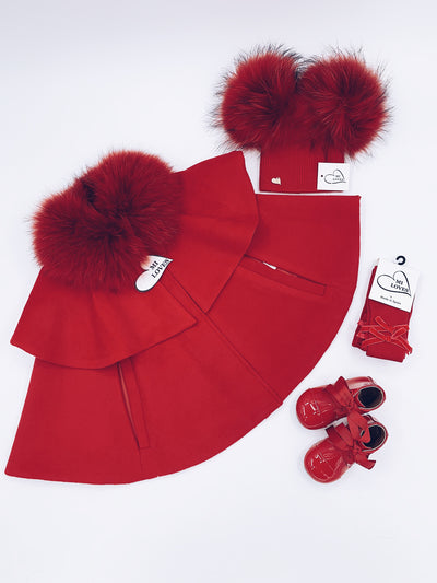 Red MI LOVES SIGNATURE  LUXURIOUS CASHMERE CAPE WITH RACOON FUR TRIM
