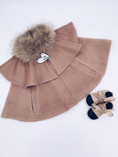 CAPPUCCINO MI LOVES SIGNATURE LUXURIOUS CASHMERE CAPE WITH RACOON FUR TRIM!!