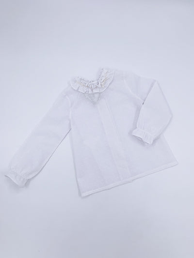 White Plumetti blouse with velvet bow