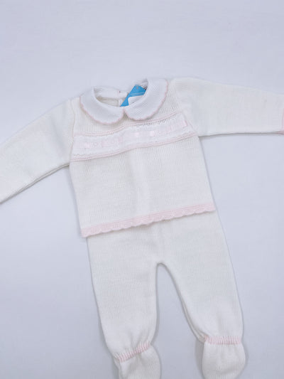 Beautiful knitted baby set (Ivory with pink details N152)
