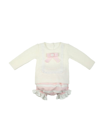 Rochy AW20/21 Beautiful Ivory/Pink knitted top and shorts 2 piece set