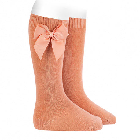 Knee High socks with grossgrain side bow Peach(623)