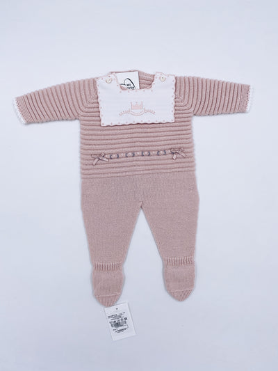 Beautiful Knitted babygrow with bow details.