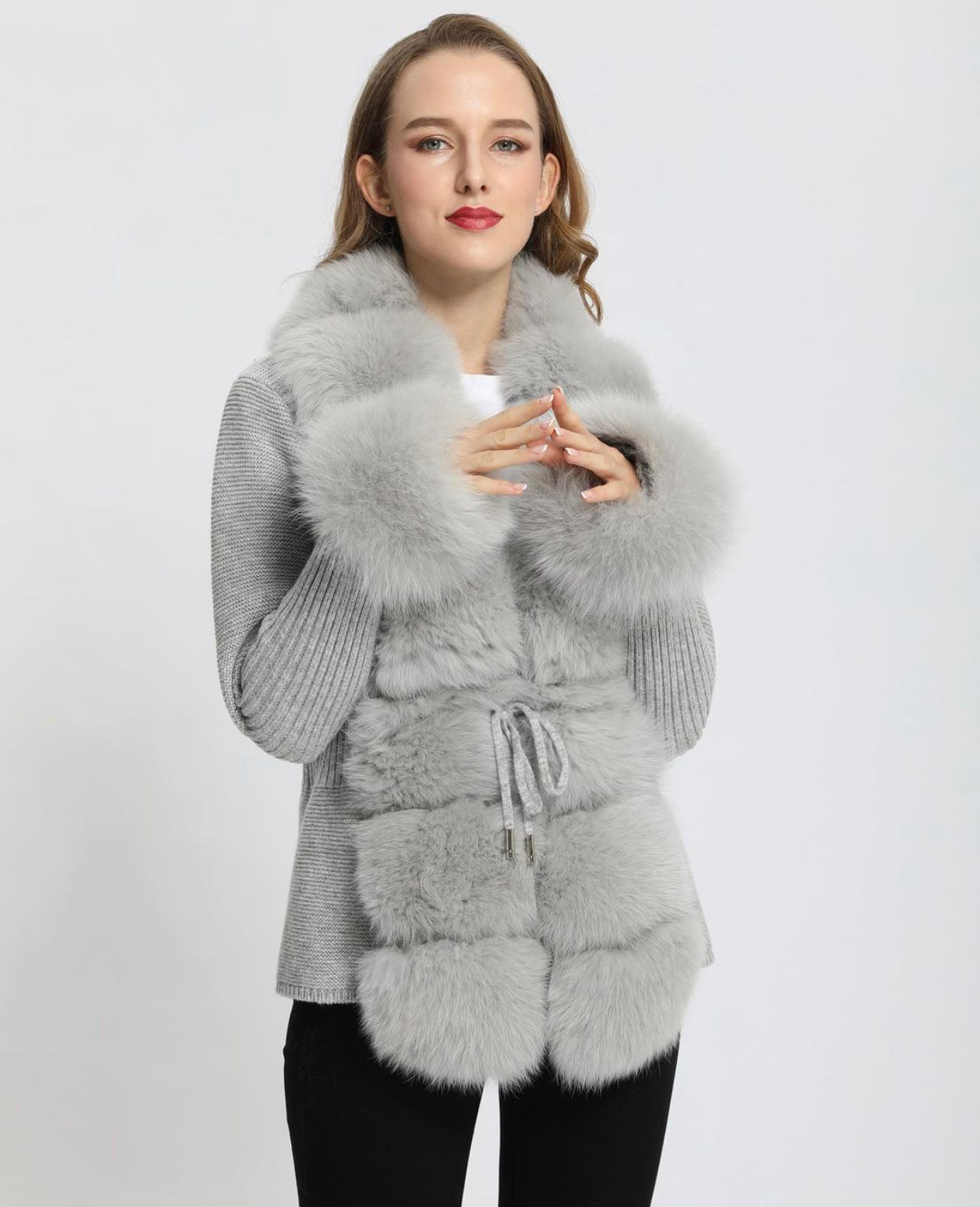 Luxurious Wool knit cardigan with Fox fur trim