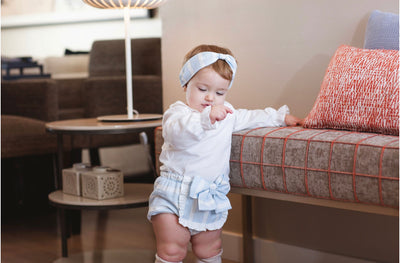 Rochy AW 20/21 Beautiful Baby Blue Lurex shorts 2 piece set with bow details