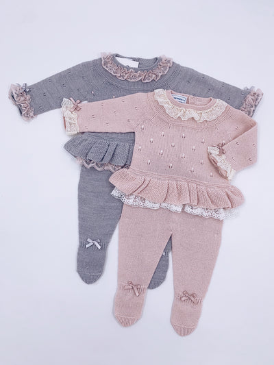 Beautiful grey knitted babygrow with Dusty pink lace and bow details