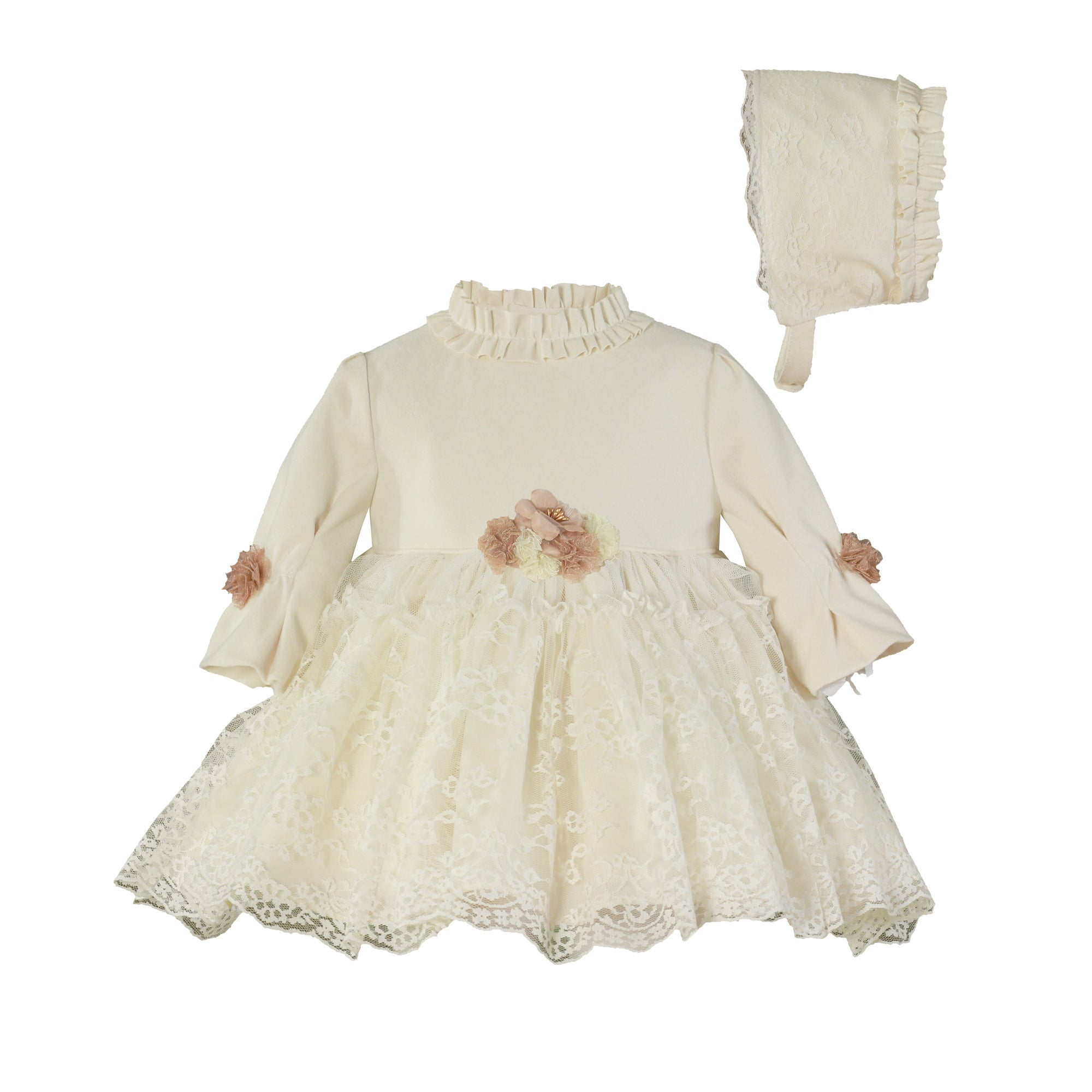 Beautiful Ivory Miranda Dress and Bonnet 2 piece set