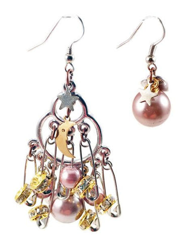 Silver safety pins, crystals and pearls cluster earrings. Perfect for parties, spring, summer time and gift for her.
