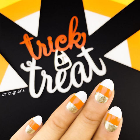 golden candy corn nail art