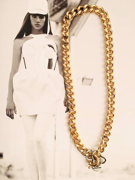 18kt Gold plated brass Curb Chain Necklace and rudder clasp. Rudder clasp necklace.