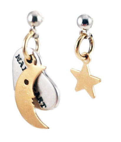 Star and Moon Earrings. Perfect for parties, summer time and gift for her. In 2 Colors.