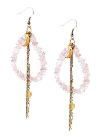 Rose quarz drop earrings with moon charm. Perfect for parties, summer time and gift for her.