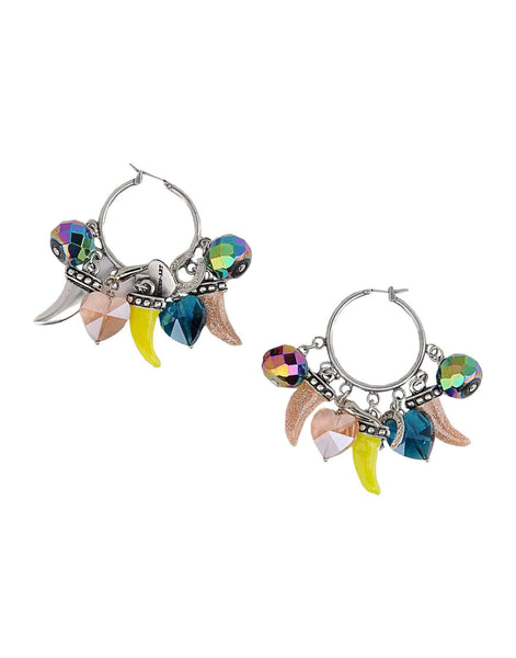 Colorful Horn, Horseshoe, Heart Charm Hoop Earrings