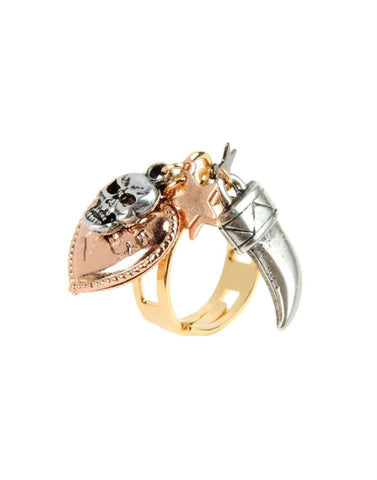 gold horn and skull ring