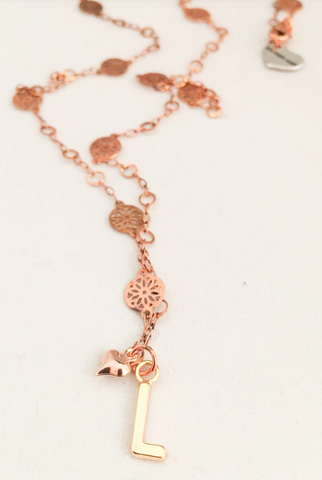 Initial Long Necklace Rose Gold. Initial necklaces for Women. Initial Necklace Star