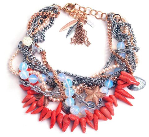 Coral and opalite stones bib necklace