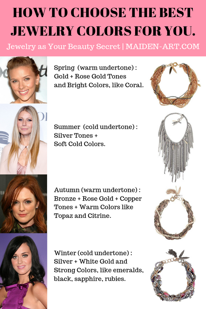 How to Choose Metallics Jewelry for your Color Palette, Color Season | Jewelry and Color Analysis | Jewelry as your Beauty Secret | Maiden-Art.com