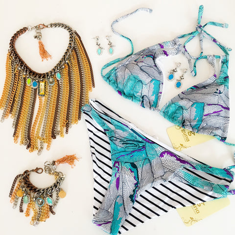Bohemian jewelry and brazilian bikini beachwear