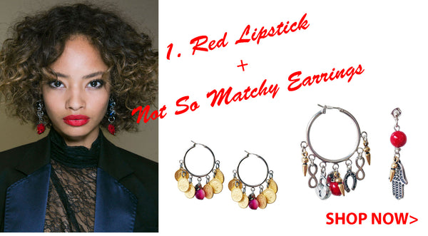 Red Lipstick and Not so matchy earrings Maiden-Art.com