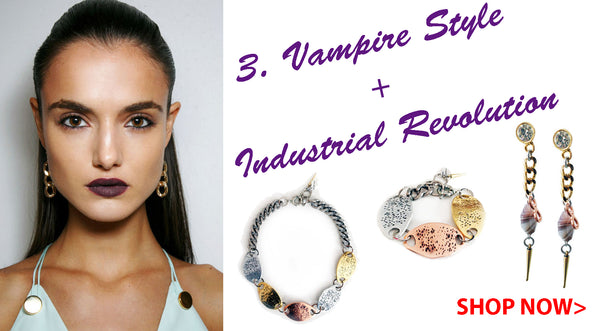Vampire style makeup and Industrial revolution jewelry Spring Summer 2016 Maiden-Art.com
