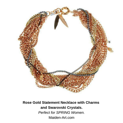 Rose Gold Statement Necklace with Charms and Swarowski Crystals