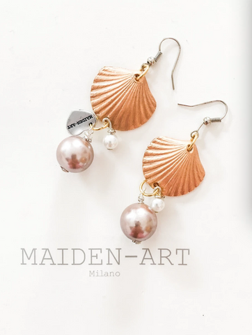 Statement Earrings with Shell Charms and Pearls.
