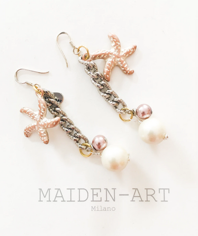 Starfish Earrings, Pearl earrings