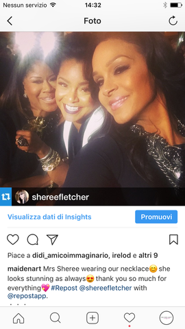 sheree fletcher wearing maidenart jewelry