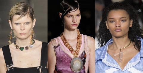 raw stone necklaces fro runways
