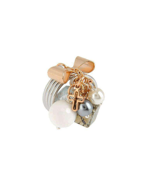 White onyx and aquamarine stones brass ring. Italian rings. *PROMOTION - Maiden-Art.com