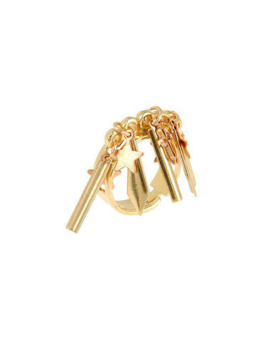 Gold plated brass ring with studs - Maiden-Art