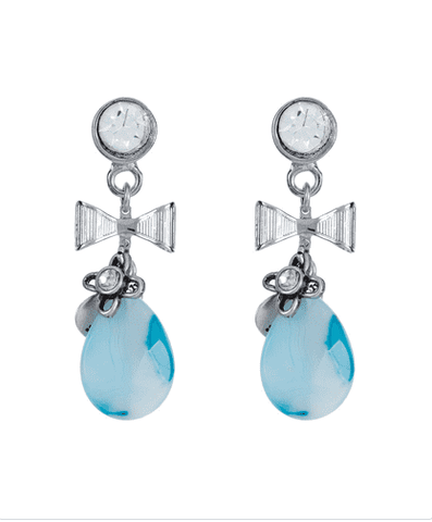 Blue agate stone dangle and drop earrings - Maiden-Art.com