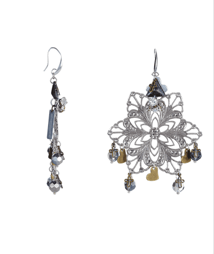 18kt Gold Plated and Silver Plated Chandelier Earrings with crystals and beads - Maiden-Art.com