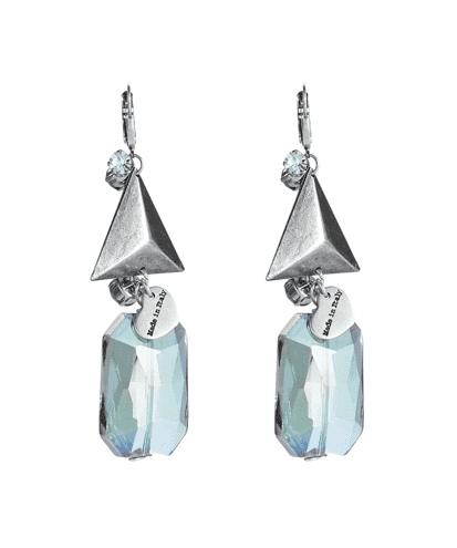 Dangle and drop earrings with triangle studs and rhinestones. - Maiden-Art.com