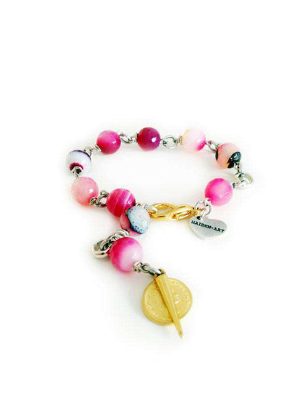 Rosary bracelet with pink agate stones, gold spikes and coins - Maiden-Art.com