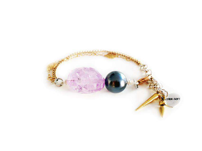 18kt Gold Plated Charm bracelet with amethyst stone, black pearl and small charms. - Maiden-Art.com
