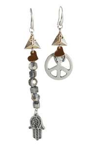 Boho chic drop earrings made with crystals, silver peace pendant, cross and horseshoe charms and hamsa pendant. - Maiden-Art