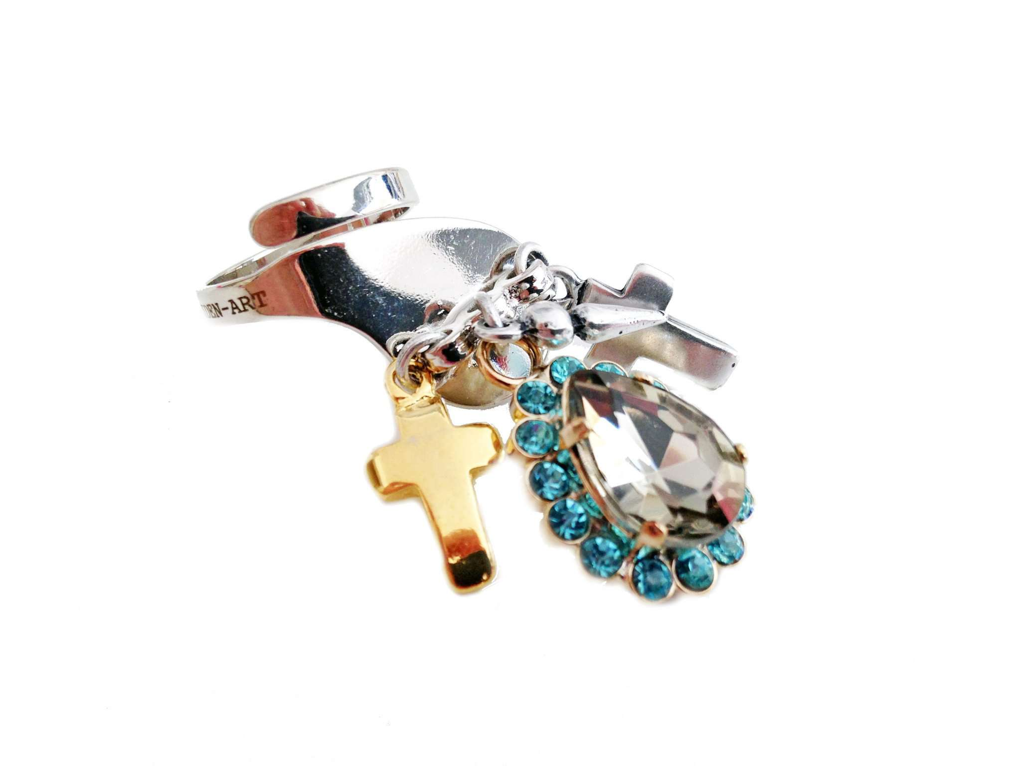 Light blu rhinestones statement ring with silver plated brass, antique silver, gold charms and logo engraved. Trendy jewelry, trendy rings. - Maiden-Art.com