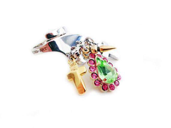 Green and Pink rhinestones statement ring with silver plated brass, antique silver, gold charms and logo engraved. Trendy rings. - Maiden-Art.com