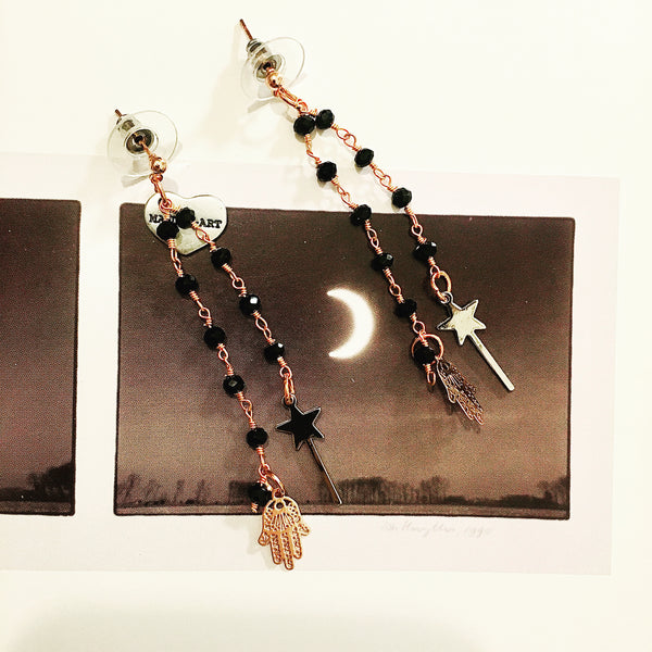 Rosary Earrings with Magic Wand and Hamsa Charms - Maiden-Art