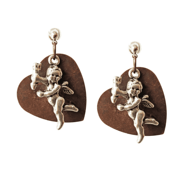 Heart stud earrings in brass and silver. Perfect for valentines day, valentines day gift, gift for her. - Maiden-Art.com