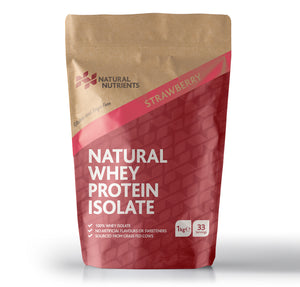 Natural Whey Protein Isolate| Grass Fed | Strawberry Flavoured Powder - 1KG