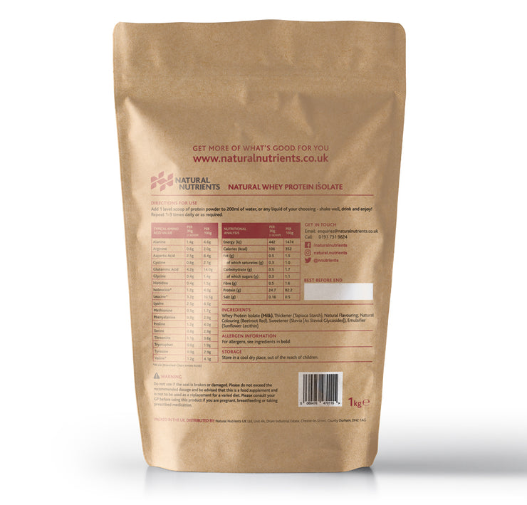 Natural Whey Protein Isolate| Grass Fed | Strawberry Flavoured Powder - 1KG Back