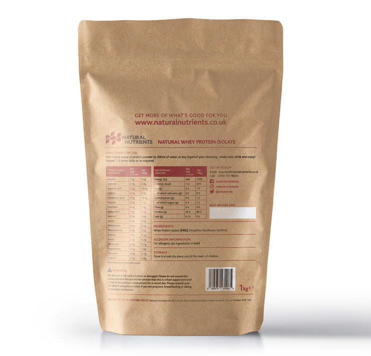 Natural Whey Protein Isolate | Grass Fed | Unflavoured Powder - 1KG Back