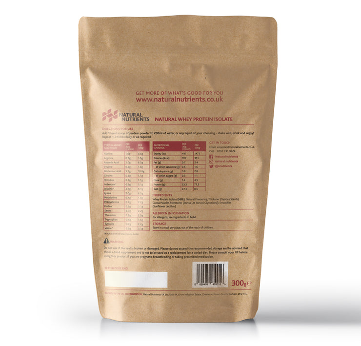 Natural Whey Protein Isolate | Grass Fed | Chocolate Flavoured Powder - Back