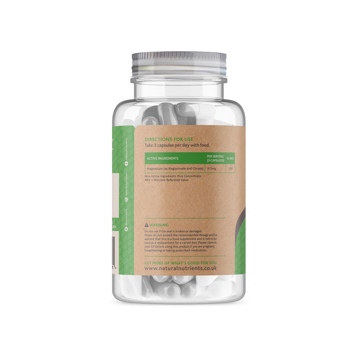 Magnesium Citrate and Bisglycinate Supplement - Back
