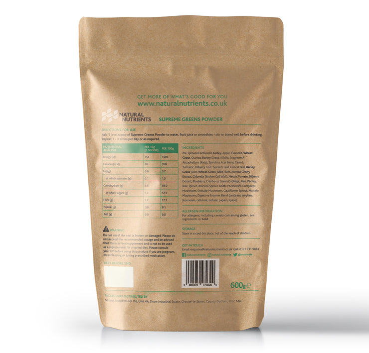 Supreme Greens Powder | Organic Superfood Drink 600G Back